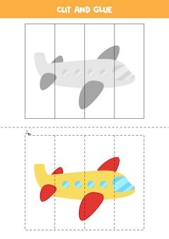 漫画の飛行機で子供のためのカットアンドグルーゲーム。未就学児のための切断の練習。