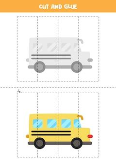 Вырезать и склеить игру для детей с мультяшным школьным автобусом. практика стрижки для дошкольников.