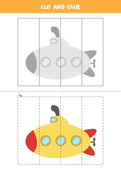漫画の潜水艦を持つ子供のためのカットアンドグルーゲーム。未就学児のための切断の練習。
