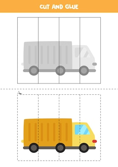 漫画のトラックで子供のためのカットアンドグルーゲーム。未就学児のための切断の練習。