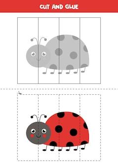 かわいいてんとう虫を持つ子供のためのカットアンドグルーゲーム。未就学児のための切断の練習。