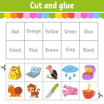 子供のための就学前の活動ワークシートのための学習カラーゲームをカットアンドグルー