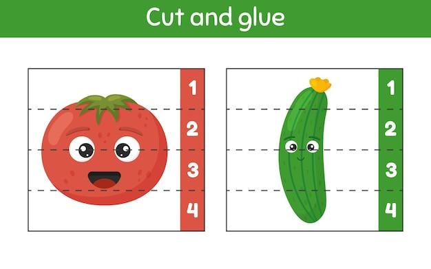 자르고 붙입니다. 숫자 학습. 유치원, 유치원 및 취학 연령을위한 워크 시트. 토마토와 오이.