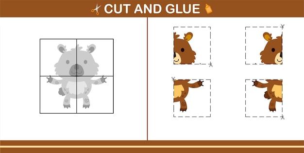 5세와 10세 어린이를 위한 교육 게임인 귀여운 곰의 컷 앤 글루