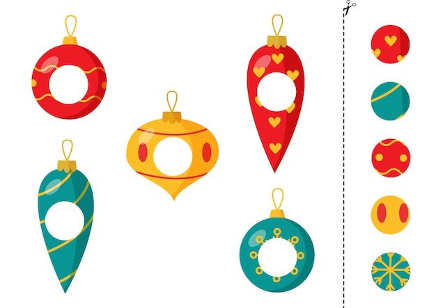 Вырезать и склеить части разноцветных новогодних шаров