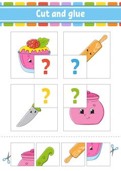 Разрезать и склеить. установите флэш-карты. цветная головоломка. рабочий лист развития образования.