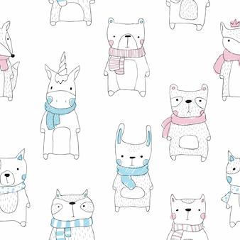 漫画の赤ちゃんスカンジナビアスタイルで動物のシームレスなパターンをカットします。彼女、カット、ユニコーン、キツネ、犬、クマ、パンダ、アライグマ