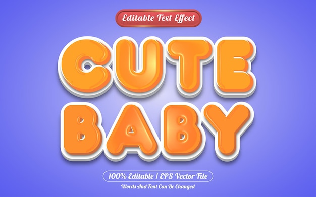 Cut baby editable text effect template