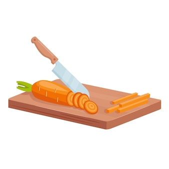 Cut carrot to cook healthy food. knife cutting raw carrot slices on wooden board, cooking vegetable