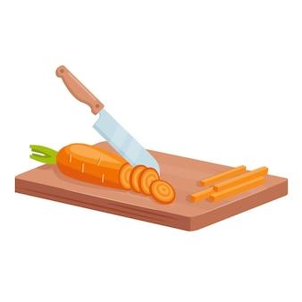 당근을 잘라 건강에 좋은 음식을 요리하십시오. 칼 절단 나무 보드에 원시 당근 조각, 야채 요리