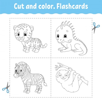 Cut and color. flashcard set. tiger, iguana, sloth, zebra. coloring book for kids.