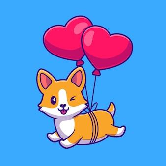 심장 사랑 풍선 만화 아이콘 일러스트와 함께 떠있는 corgi 개를 잘라.
