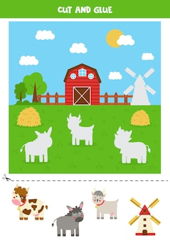 Cut farm animals and glue them into field. game for kids.
