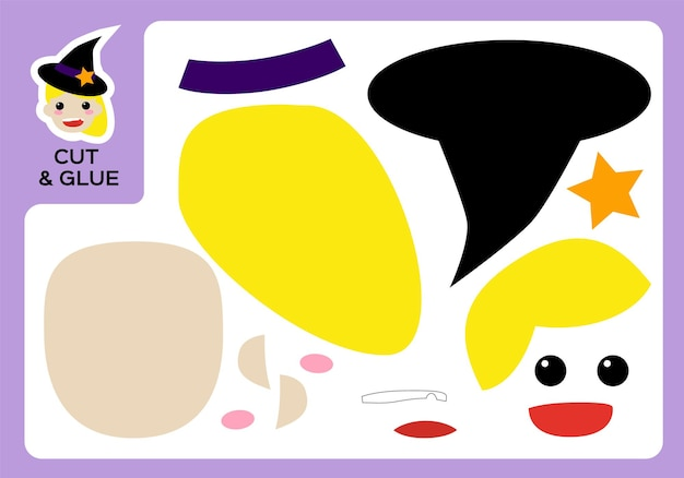 Cut and glue cartoon cute witch. diy little witch project. worksheet for kids. activity page. education children. happy halloween game. super motor skills. paper craft game for children.