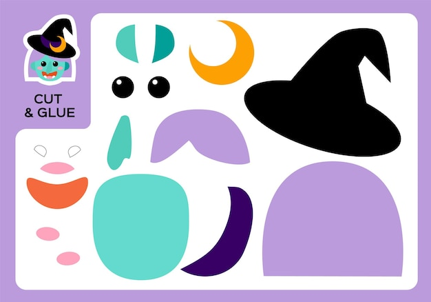 Cut and glue cartoon witch. diy witch project. worksheet for kids. activity page. education children. happy halloween game. super motor skills. paper craft game for children.