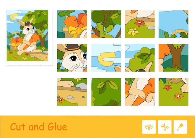 Cut and glue colorful vector image and puzzle learning children game with rabbit in a hat picking carrots in a basket.