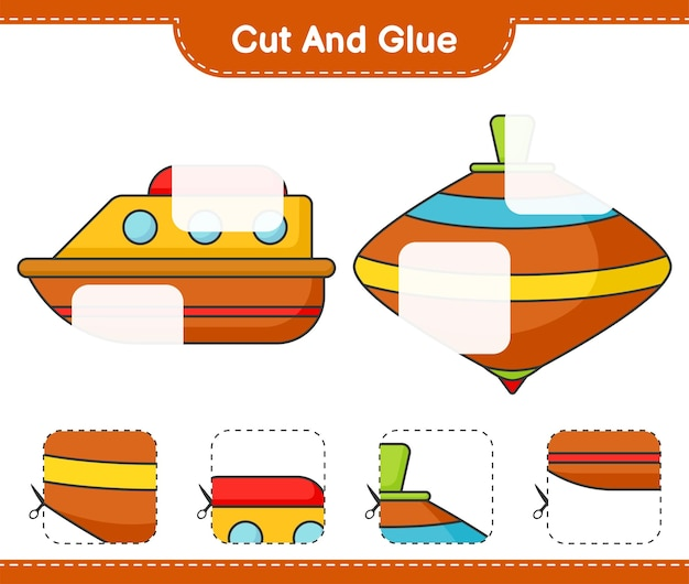 Cut and glue cut parts of boat and whirligig toy and glue them educational children game