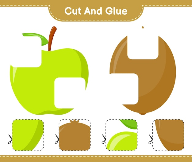Cut and glue, cut parts of fruits and glue them. educational children game, printable worksheet
