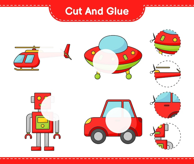 Cut and glue cut parts of helicopter ufo robot character car and glue them