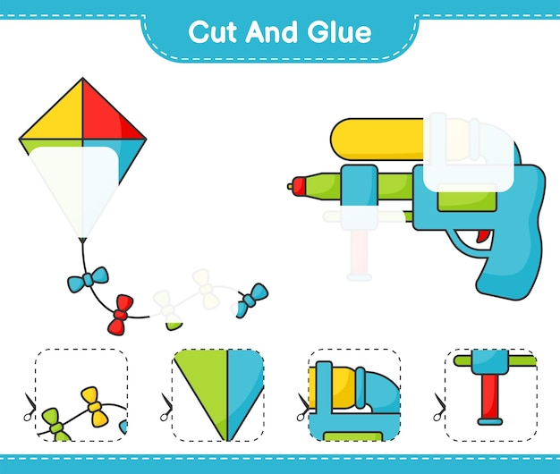 Cut and glue cut parts of kite and water gun and glue them educational children game