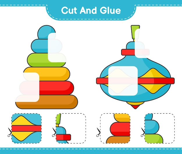 Cut and glue cut parts of pyramid toy and whirligig toy and glue them educational children game