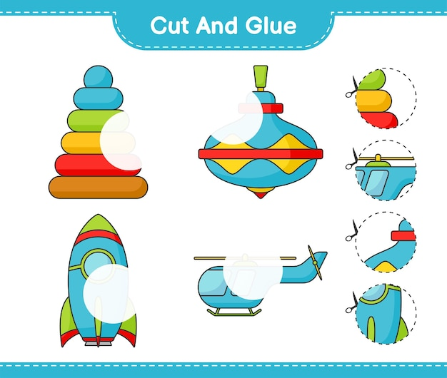 Cut and glue cut parts of pyramid toy whirligig toy rocket helicopter and glue them