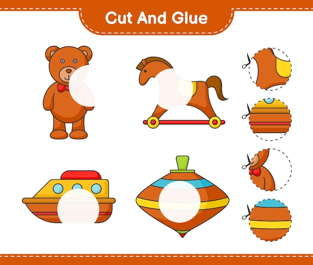 Cut and glue cut parts of teddy bear rocking horse boat whirligig toy and glue them