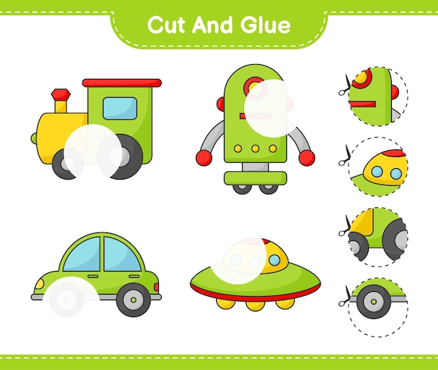 Cut and glue cut parts of train robot character car ufo and glue them educational children game