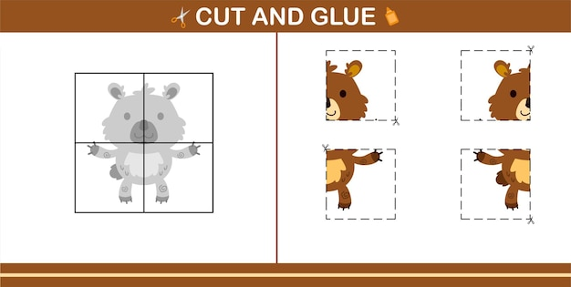Cut and glue of cute bear,education game for kids age 5 and 10 year old