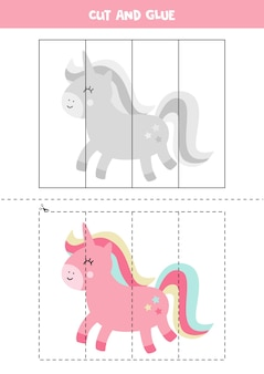 Cut and glue cute cartoon pink unicorn. educational game for kids. learning to cut. puzzle for children.