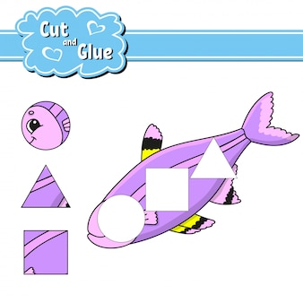 Cut and glue. education developing worksheet. activity page.