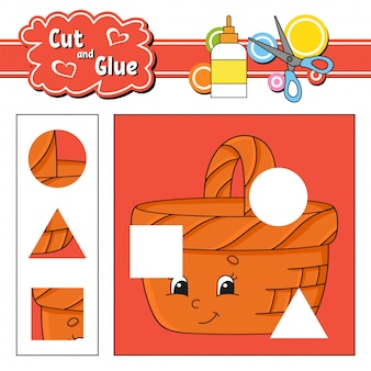 Cut and glue, education developing worksheet