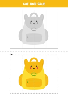 Cut and glue game for kids. cute yellow backpack.