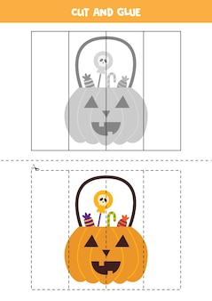 Cut and glue game for kids. halloween lantern.