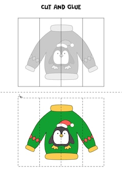 Cut and glue game for kids. ugly christmas sweater with penguin.