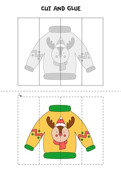 Cut and glue game for kids. ugly christmas sweater.
