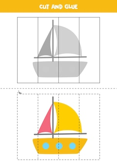 Cut and glue game for kids with cartoon yacht. cutting practice for preschoolers.