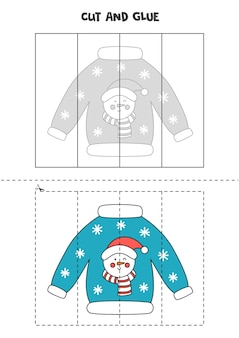 Cut and glue game for kids with christmas ugly sweater. cutting practice for preschoolers.