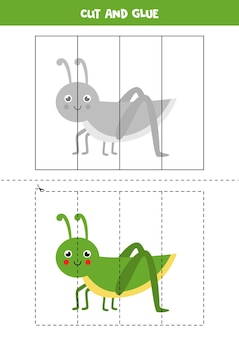 Cut and glue game for kids with cute grasshopper. cutting practice for preschoolers.