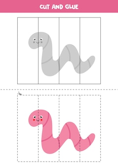 Cut and glue game for kids with cute worm. cutting practice for preschoolers.