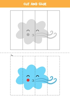 Cut and glue game for kids with wind cloud. cutting practice for preschoolers.
