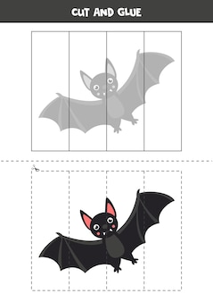 Cut and glue game with cute cartoon vampire bat. educational game for kids. puzzle for kids.