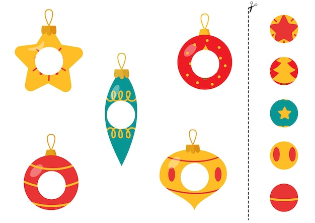 Cut and glue parts of christmas baubles.