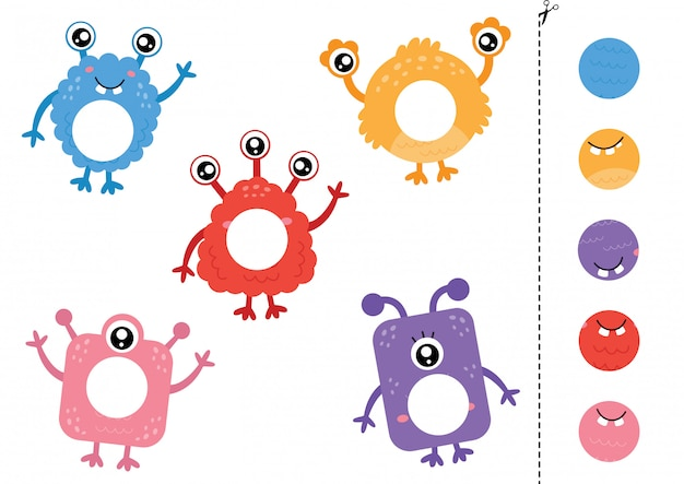 Cut and glue parts of cute cartoon monsters.