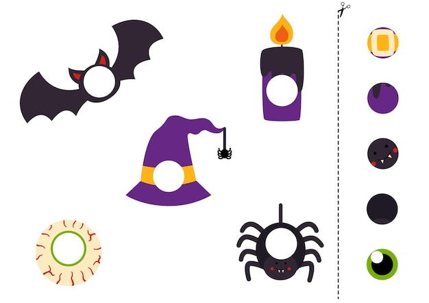 Cut and glue parts of halloween elements.