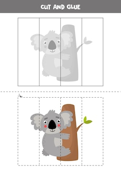 Cut and glue picture of cute australian koala on tree. educational puzzle for kids.