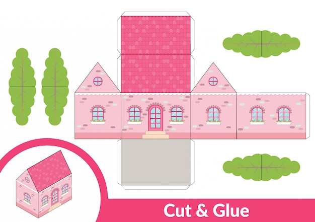 Cut and glue a pink house