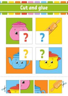 Cut and glue. set flash cards. color puzzle