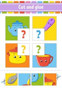 Cut and glue. set flash cards. color puzzle.