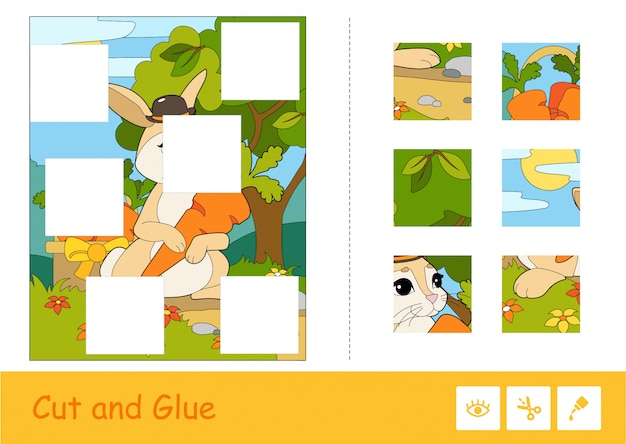 Cut and glue vector learning children game. colorful puzzles of cute bunny in a hat picking carrots in a wood.